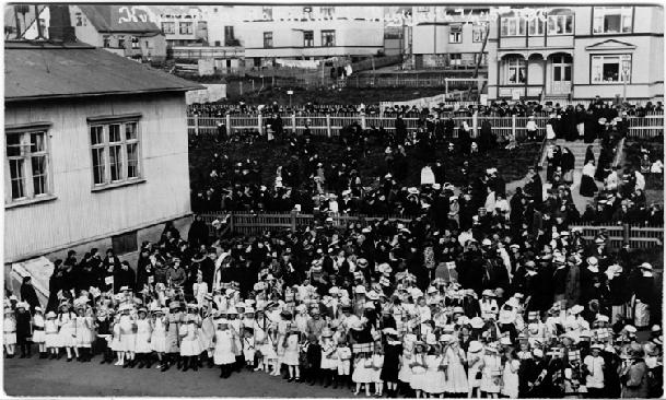 June 19th 1915 women's suffrage in Iceland. Here are women celebrating the right to vote.