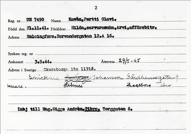 A register card for Pertti Kavèn